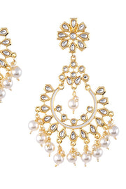 Women's Alloy Large Dangle Earrings in Pearl