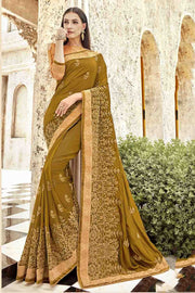 Faux Georgette Saree in Beige
