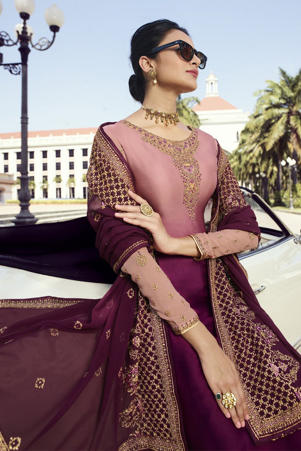 Faux Georgette Embroidered Dress Material in Wine