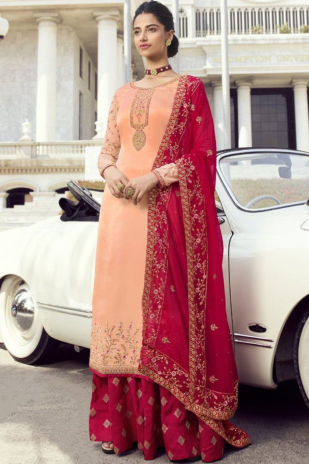 Faux Georgette Embroidered Dress Material in Light peach