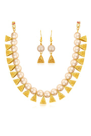 Women's Alloy Necklace Set in Off White