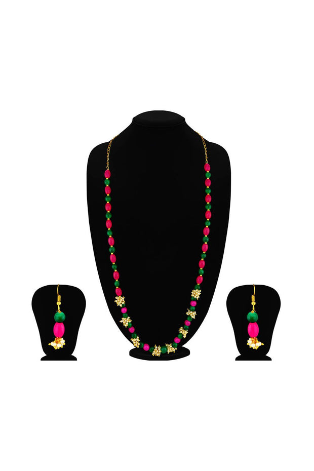 Women's Alloy Necklace Set in Pink and Green