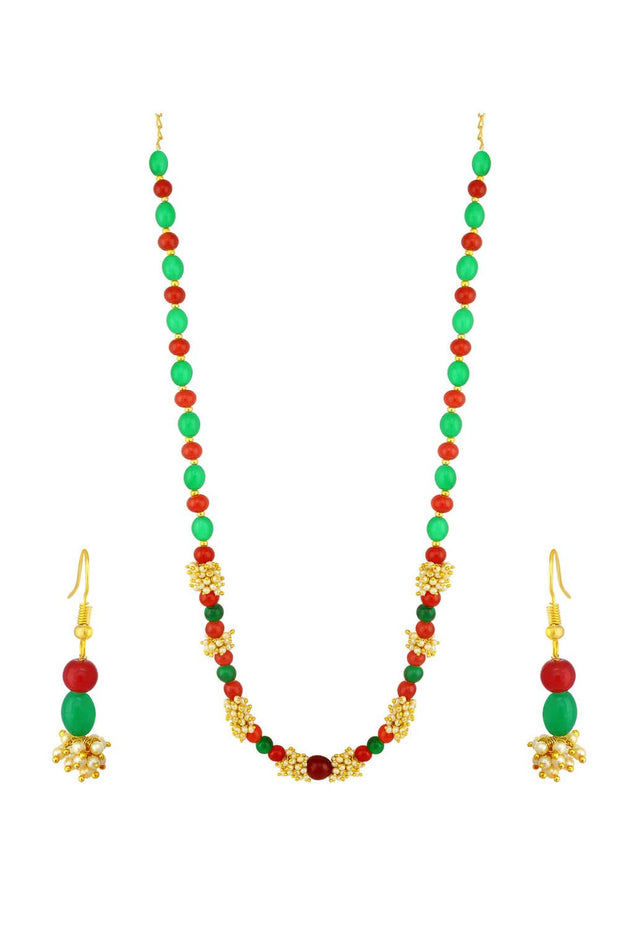 Women's Alloy Necklace Set in Red and Green