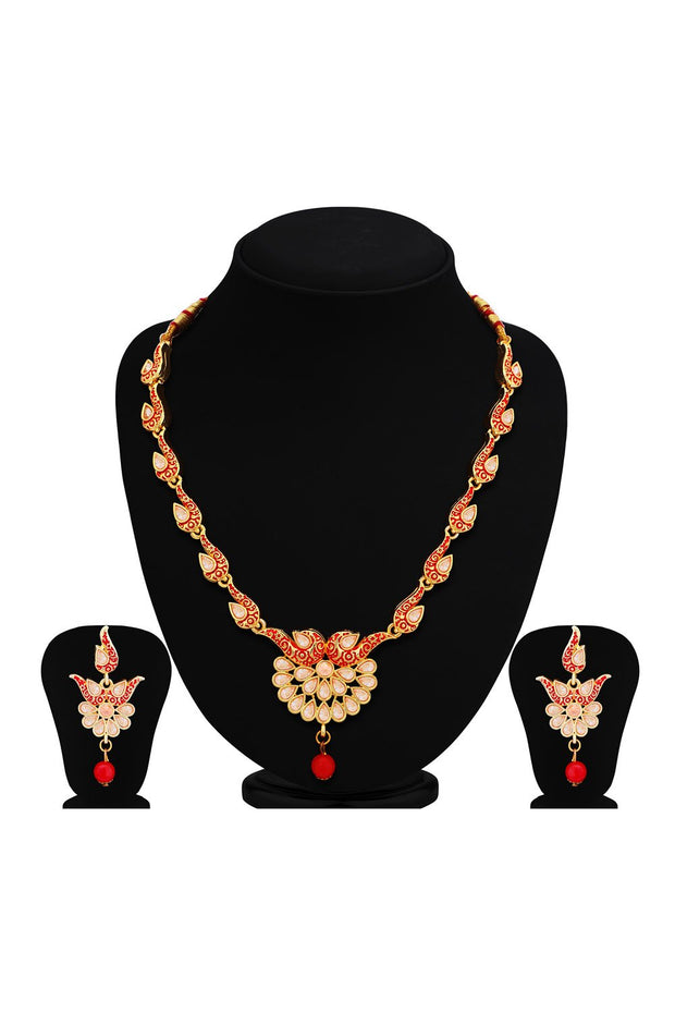 Women's Alloy Necklace Set in Red