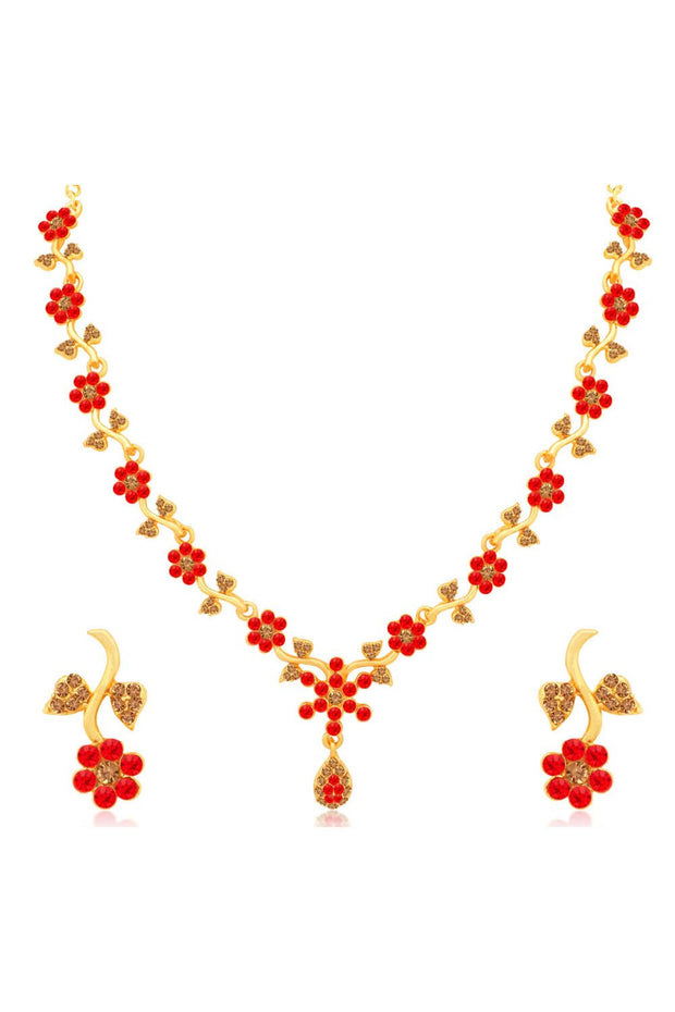 Women's Alloy Necklace Set in Red and Brown