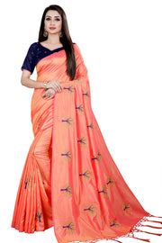 Paper Art Silk Saree in Peach