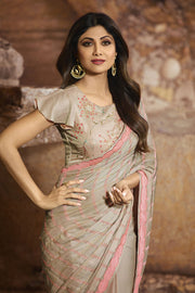Georgette Saree in Light Grey