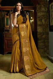 Fancy Fabric Saree in Brown