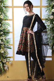 Art Silk Designer Suit in Black