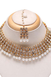 Women's Alloy Necklace and Earrings Set in Gold and White
