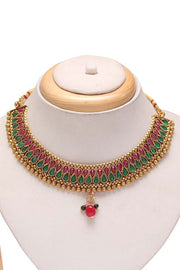 Women's Alloy Choker Set in Red and Green