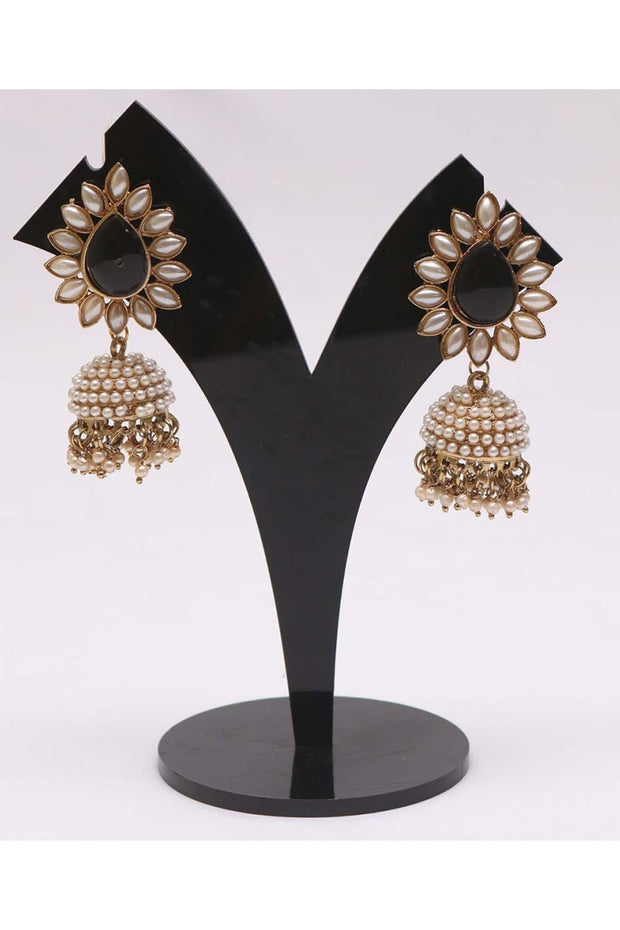 Women's Alloy Jhumka Earrings in Black and White