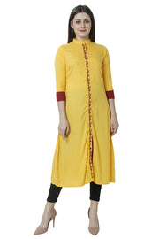 Rayon Kurti in Yellow