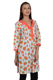 Blended Cotton Kurti in White