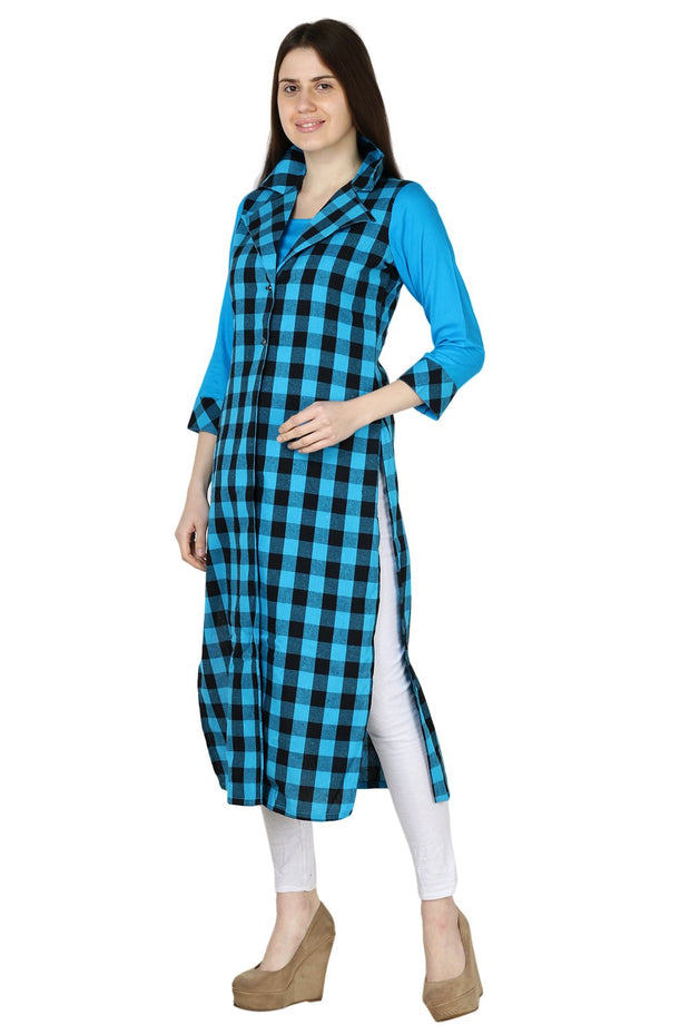 Blended Cotton Kurti in Blue