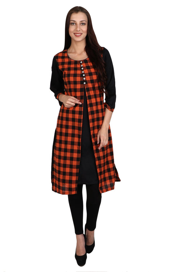 Blended Cotton Kurti in Black and Orange