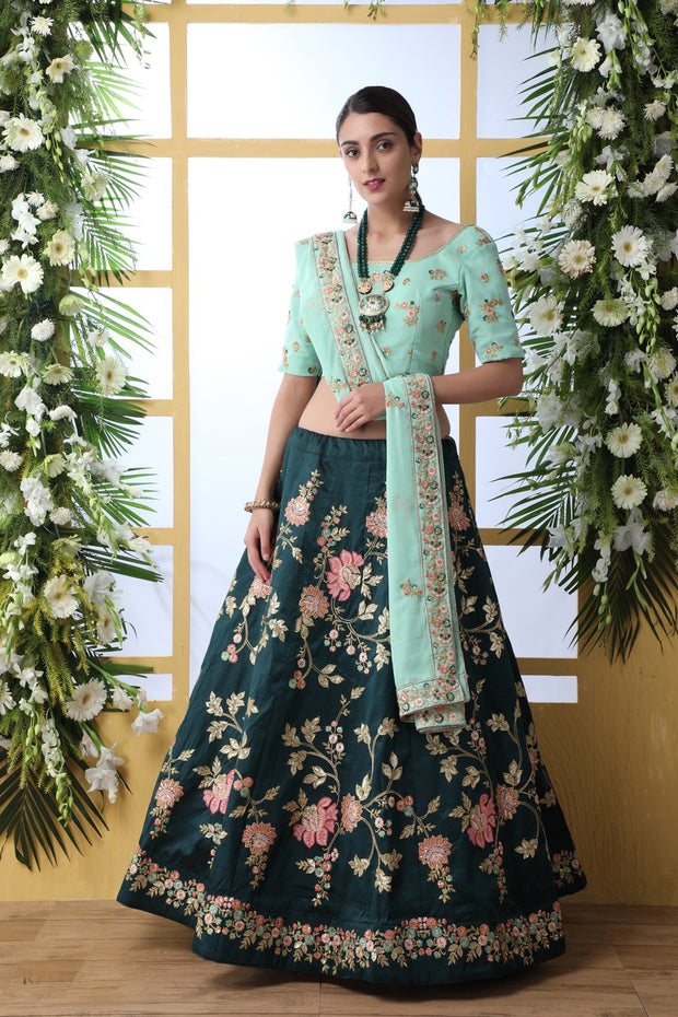Art Silk Wedding Lehenga in Green