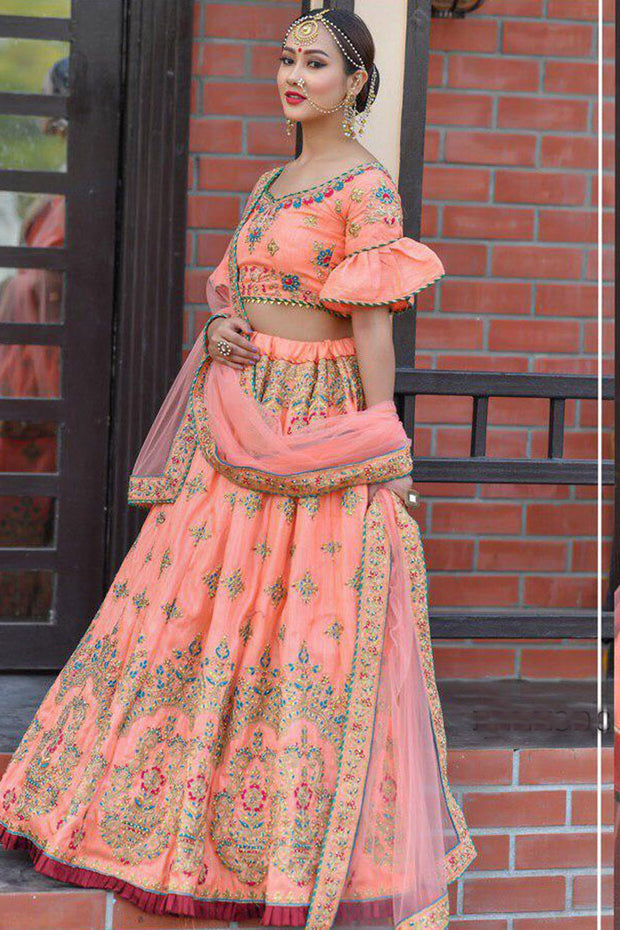 Silk Wedding Lehenga in Orange