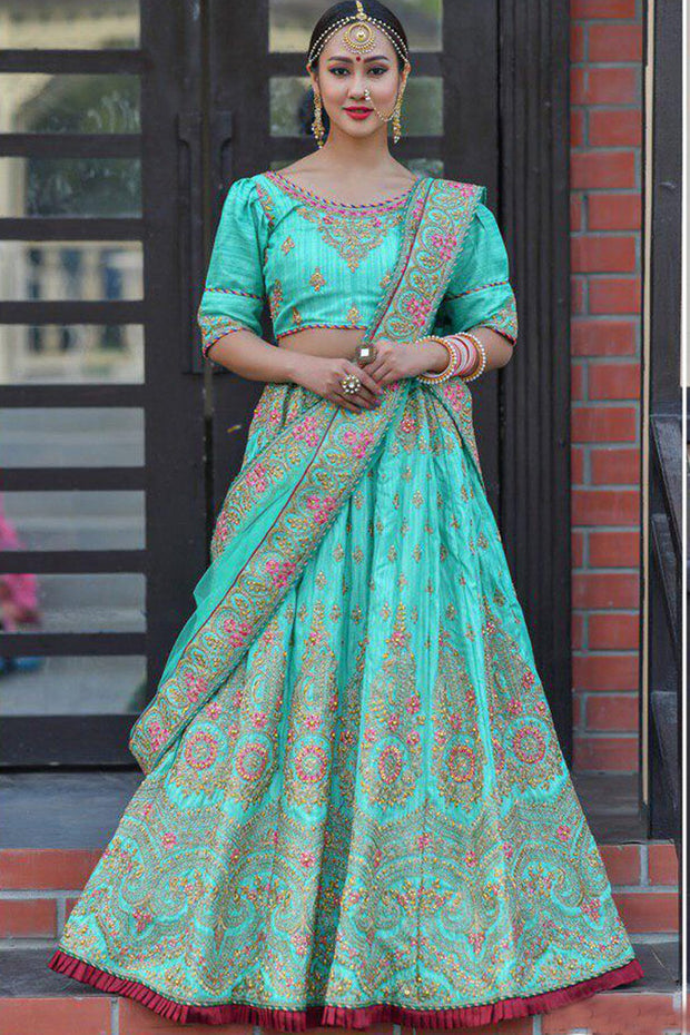 Silk Wedding Lehenga in Blue