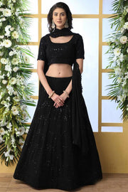 Georgette Designer Lehenga in Black