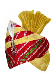 Tissue Turban in Maroon and Gold