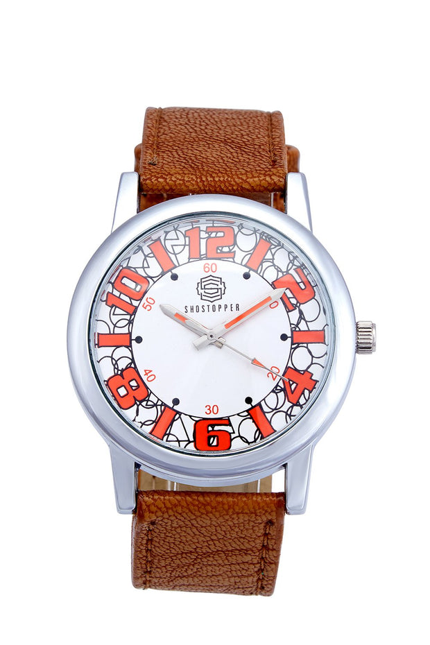 Men's PU Leather Watches in Beige