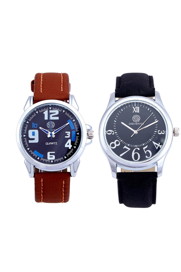 Men's PU Leather Watches in Brown