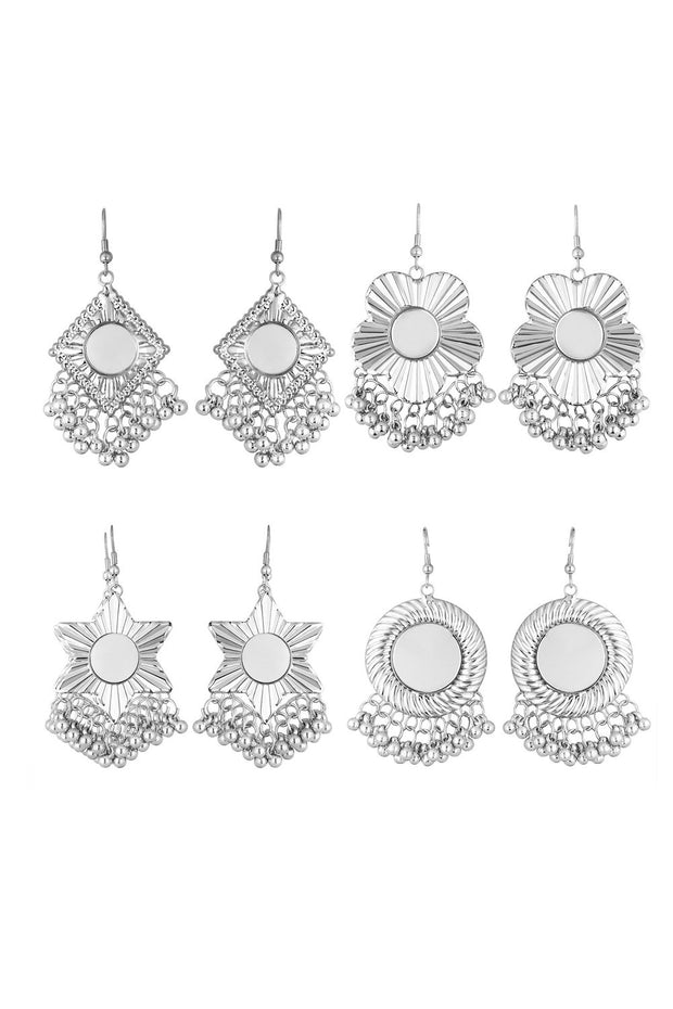 Women's Alloy Hoops Earrings in White