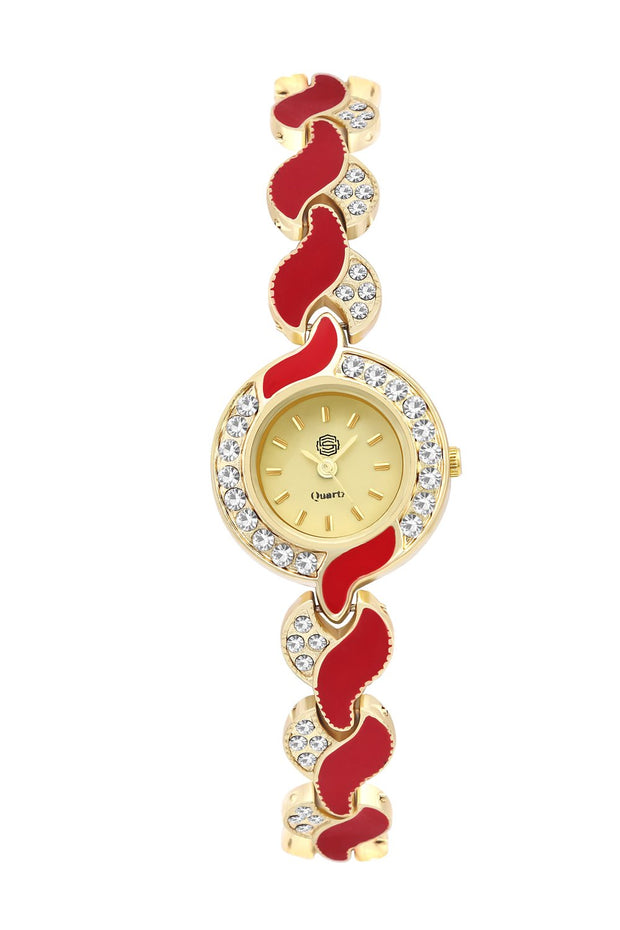 Women's Metal Watches in Red and Gold