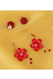 Women's Alloy Combo Studs Earrings in Red