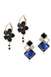 Women's Alloy Combo Studs Earrings in Black and Blue