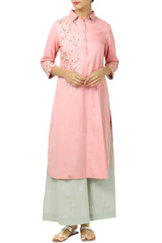 Cotton Art Silk Suit Set in Pink