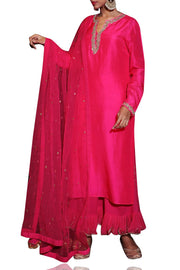 Art Silk Kurta Set in Rani Pink