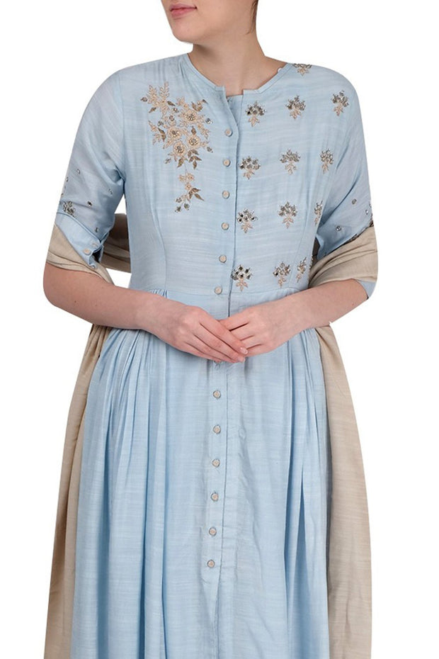 Art Silk Kurta Set in Pastel Blue