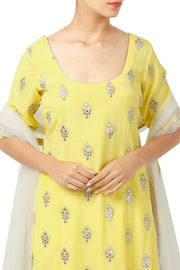 Chiffon Kurta Set in Pastel Yellow
