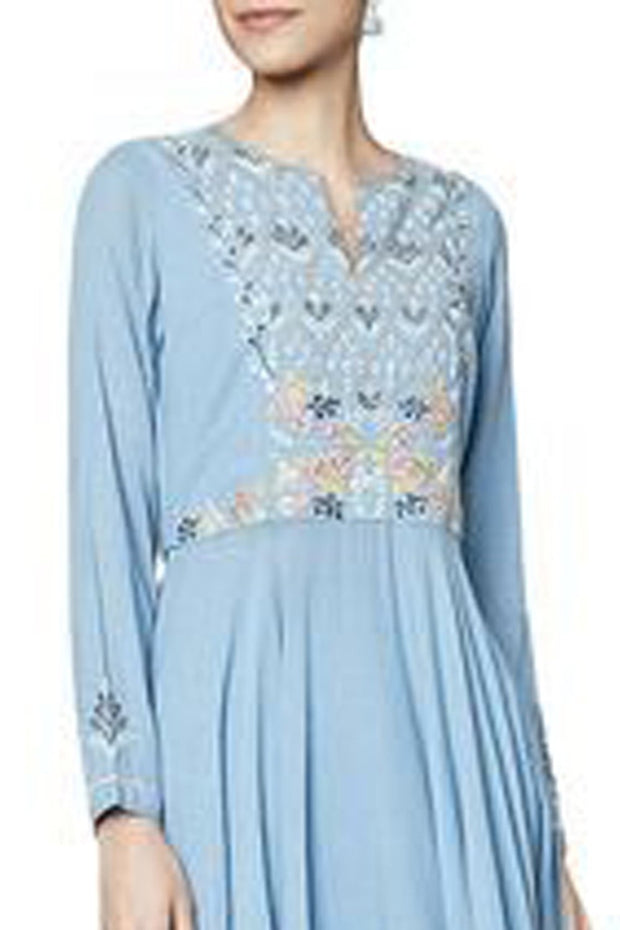 Faux Georgette Kurta Set in Blue