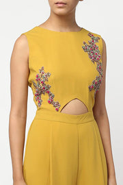 Faux Georgette Gown in Mustard