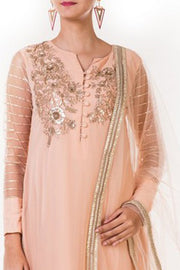 Faux Georgette Kurta Set in Peach
