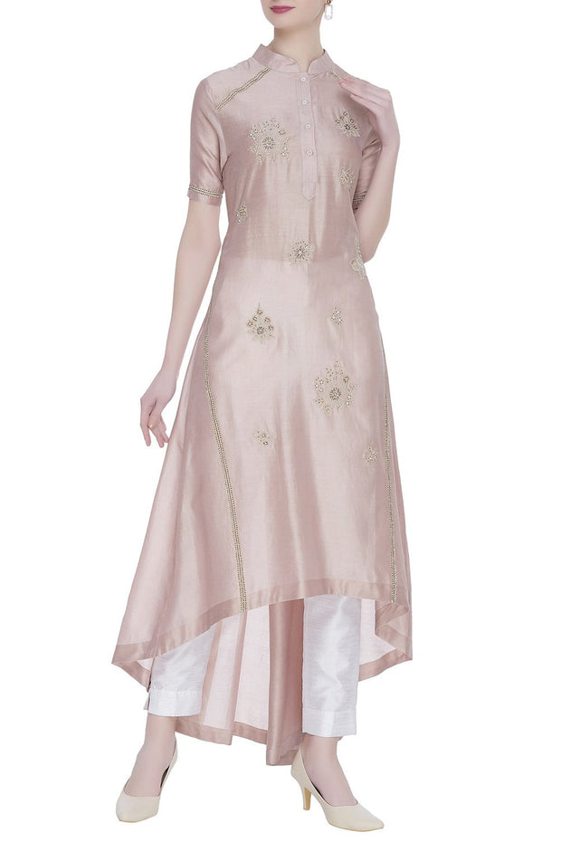 Chanderi Kurta Set in Light Purple