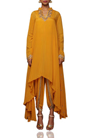 Crepe Kurta Set in Yellow