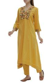 Satin Kurta Set in Yellow
