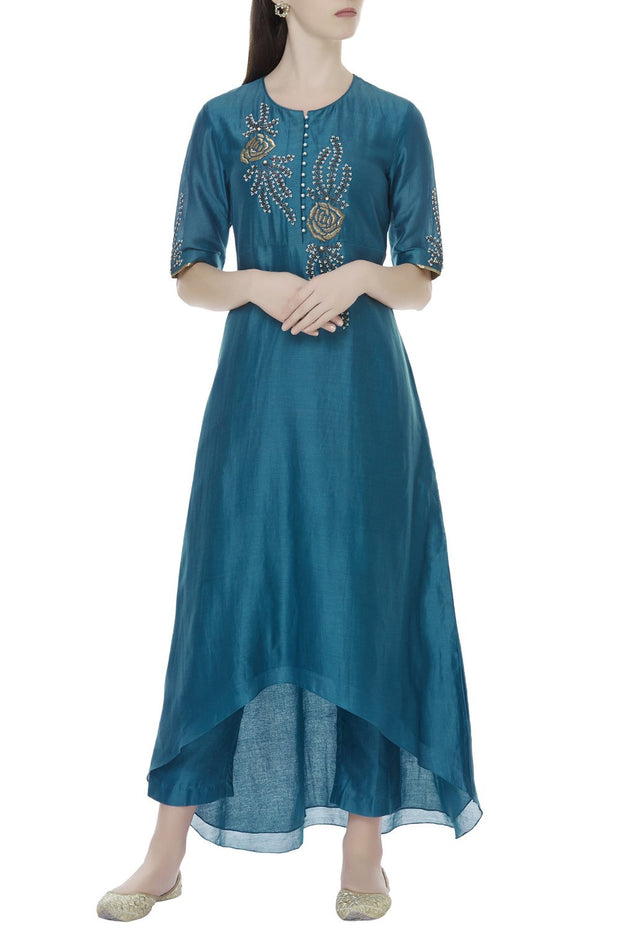 Chanderi Kurta Set in Blue