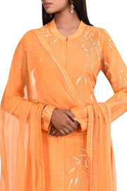 Art Silk Kurta Set in Orange