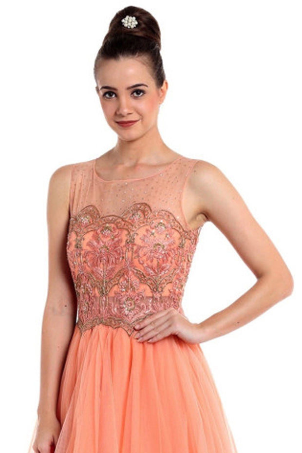 Net Gown in Peach