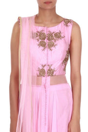 Faux Georgette Suit Set in Pink