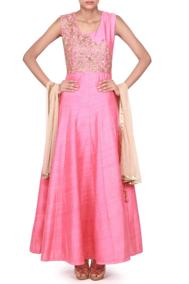 Art Silk Suit Set in Pink