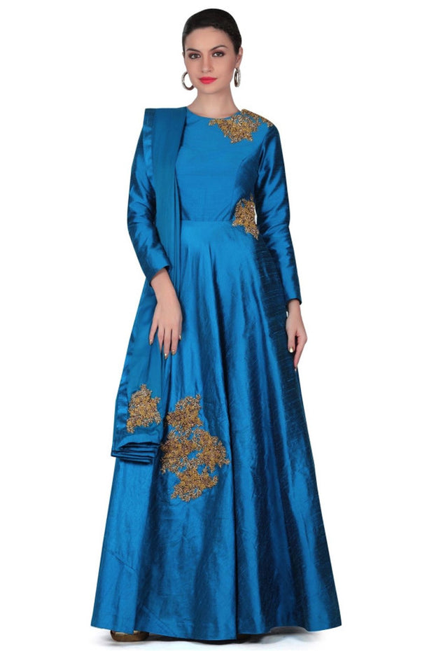 Art Silk Suit Set in Blue