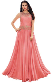 Faux Georgette Gown in Pink