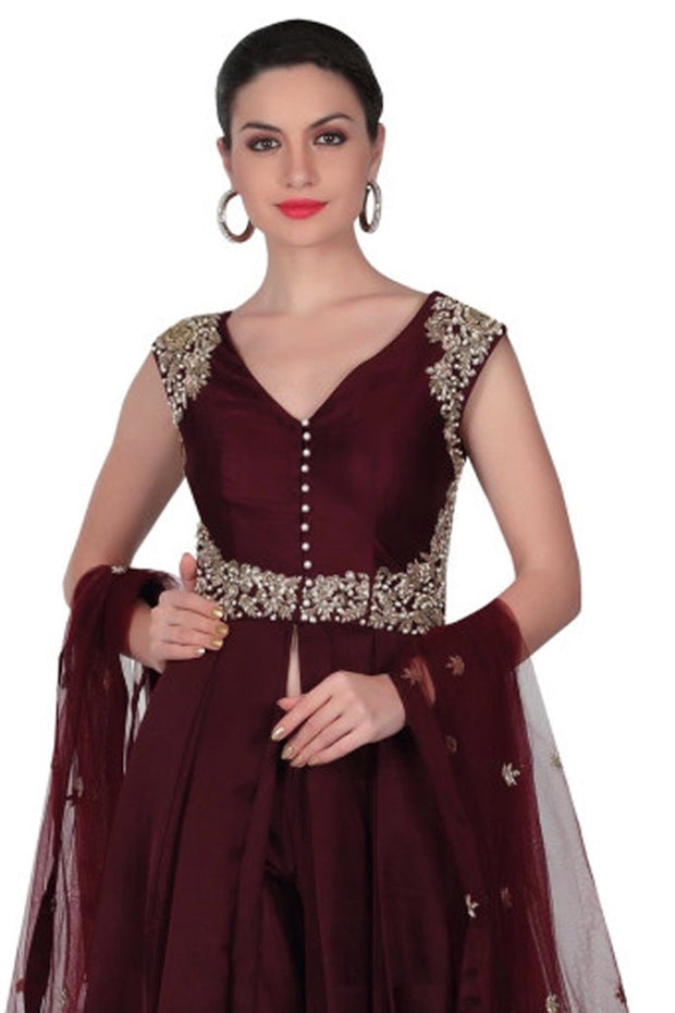 Art Silk Suit Set in Maroon