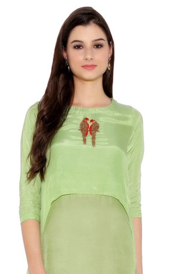 Faux Georgette Suit Set in Green
